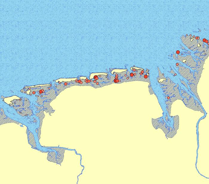 Die Vorschaugrafik zeigt die Gesamtausdehnung des Datensatzes. Der eigentliche Datenbestand besteht aus den in rot dargestellten Punkten.