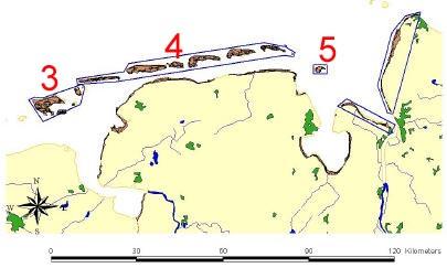 Das Vorschaubild zeigt die Gebiete der Befliegungen des Niedersächsischen Nationalparks im Jahr 2002. Der Datensatz beinhaltet die mit (3), (4) und (5) markierten Gebiete an der Wesermündung.